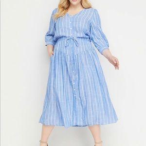 Lane Bryant Striped Button-front Midi Dress